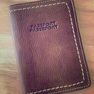 Roots leather passport holder